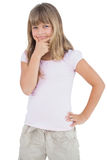 Serious young girl looking at camera Stock Images
