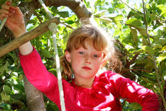 Serious Young Girl In Tree Royalty Free Stock Photos
