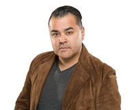 Serious Young Hispanic Male Headshot Portrait Against White Bac royalty free stock images