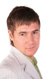 Serious young man face close-up royalty free stock photography