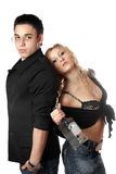 Serious young man and girl with a bottle Stock Photo