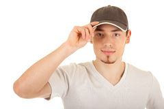 Serious young man in a hat Stock Photos