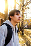 Serious Young Man outdoor. Young Man Portrait in the Autumn City Royalty Free Stock Photo