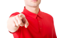 Serious young man pointing you Royalty Free Stock Photo