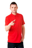 Serious young man pointing you Royalty Free Stock Images