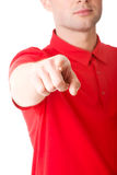 Serious young man pointing you Stock Images