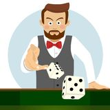 Serious young man throwing the dice. Gambling concept Royalty Free Stock Photos