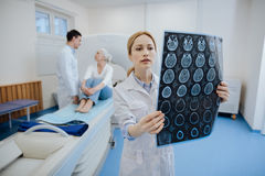 Serious young oncologist being at work royalty free stock photo