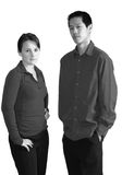 Serious young people; black and white Royalty Free Stock Image