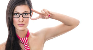 Serious young sexy woman showing her fingers Royalty Free Stock Photo