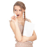 Serious young woman with blank card Royalty Free Stock Image