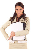 Serious young woman with documents Royalty Free Stock Photo