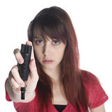 Serious Young Woman Holding Black Tear Gas Spray Stock Images
