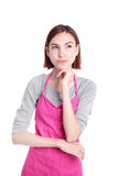Serious young woman housewife Royalty Free Stock Image