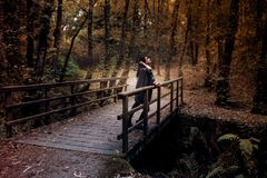 Serious young woman looking at the sky on a bridge in the middle of the forest in autumn stock images