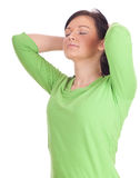 Serious young woman with raised arms Stock Photos