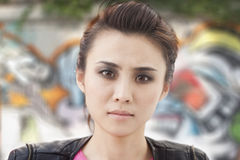Serious Young Woman with Smoky Eyes Looking At Camera Royalty Free Stock Images