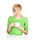 Serious young woman with white cup Royalty Free Stock Photo