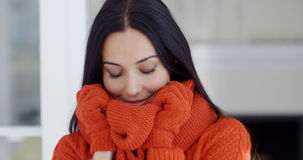 Serious young woman in winter fashion Royalty Free Stock Photography