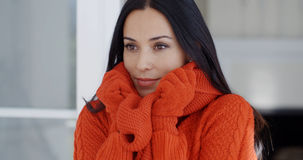Serious young woman in winter fashion Royalty Free Stock Image