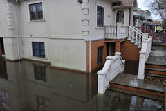 Seriouse flooding in the buildings. BROOKLYN, NY - OCTOBER 29: Seriouse flooding in the buildings at the Sheapsheadbay neighborhood due to impact from Hurricane Stock Image