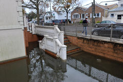 Seriouse flooding in the buildings. BROOKLYN, NY - OCTOBER 29: Seriouse flooding in the buildings at the Sheapsheadbay neighborhood due to impact from Hurricane Royalty Free Stock Images
