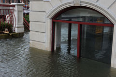 Seriouse flooding in the buildings at the Sheepshe. BROOKLYN, NY - OCTOBER 29: Seriouse flooding in the buildings at the Sheepsheadbay neighborhood due to impact Stock Photo