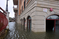 Seriouse flooding in the buildings at the Sheepshe Stock Images