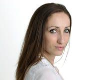Seriouse Uśmiechnięta kobieta Odizolowywająca na Białym tle Fotografia Stock