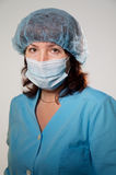 Seriouse woman in medical mask Stock Photo