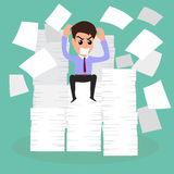 Seriously businessman because of many paper on working time. Stock Photography