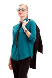 Seriously businesswoman holding jacket Stock Photography