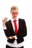 Seriously businesswoman holding pen Royalty Free Stock Photos
