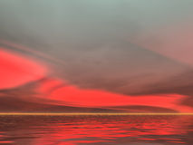 Seriously Red Sunrise. Brilliant red sunrise over the sea Royalty Free Stock Image