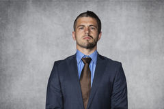 Seriousness of this advantage. Business man stock photo