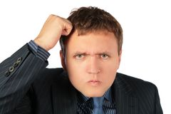 Seriuos businessman thinking royalty free stock image