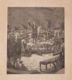 Serment du jeu de paume, gammal engravin för 19th århundrade Arkivfoton