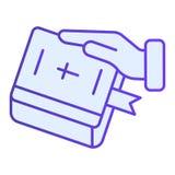 Serment sur l'ic?ne plate de bible Main sur les icônes bleues de livre dans le style plat à la mode Jurez la conception de style  illustration stock