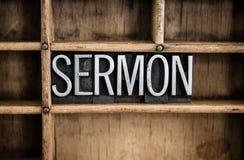 Sermon Concept Metal Letterpress Word in Drawer Stock Image