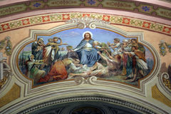 Sermon on the Mount. Fresco painting on the ceiling of the church Stock Photos