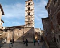 Sermoneta - Klocka torn av domkyrkan Royaltyfri Foto