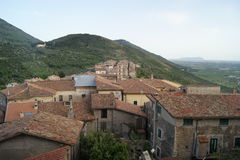 Sermoneta roof. View of Sermoneta, from medieval Castle in Italy royalty free stock images