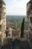 Sermoneta. View of Sermoneta, from medieval Castle in Italy stock image