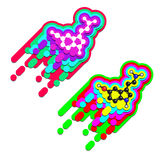 Serotonin happiness hormone molecule. Royalty Free Stock Photos