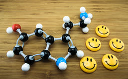Serotonin molecular structure. Serotonin is known as happiness hormone (Black= C, Red=O, Blue=N, White=H Stock Photos