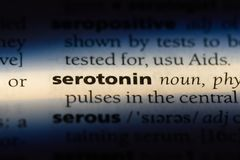Serotonin. Word in a dictionary.  concept royalty free stock photos