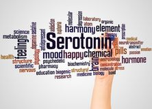 Serotonin word cloud and hand with marker concept. On gradient background royalty free stock image