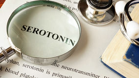 Serotonin written on a page. Human hormones Royalty Free Stock Photography