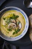 Serowa kremowa polewka z pieczarkami, ziele i białym chlebem w szarość talerzu na czarnym tle, obrazy stock