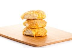 Serowego chlebowej rolki isolatedon tła białe rolki Zdjęcia Royalty Free